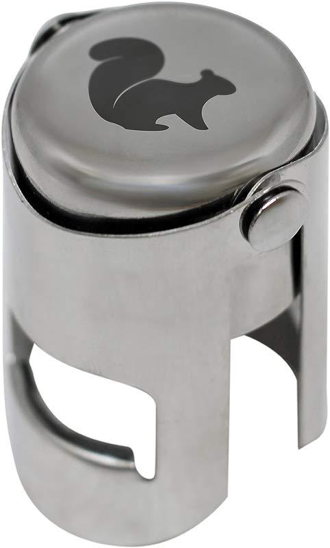 Squirrel Chrome Champagne Stopper Laser Engraved Design Reusable Wine Bottle Sealer Elegant Champagne Bottle Sealer