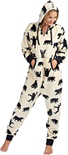 Hatley Women's Hooded Fuzzy Fleece Black Bear Family Jumpuits Onesie