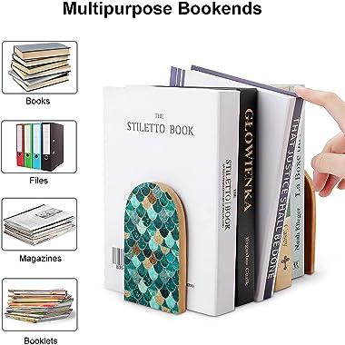 Really Mermaid Wooden Book End Office Desktop Bookend Art Bookshelf for Book Shelves 5X3 Inch