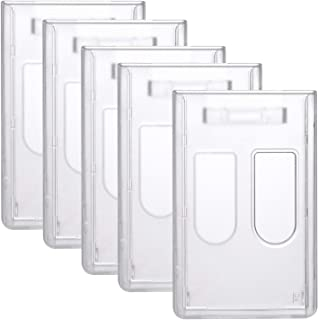 Pawfly Vertical 2 Card Badge Holders Heavy Duty Frosted ID Credit Card Protector with Thumb Slide Slots, 5 Pack
