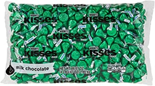 HERSHEY'S KISSES Chocolate Christmas Candy, Green Foils, Milk Chocolate, 4.1lb Bulk Candy