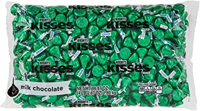 HERSHEY'S KISSES Chocolate Candy , Green Foils, 4.1 lb Bulk Candy