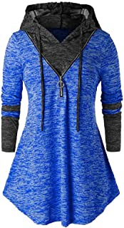 Lataw Women Hooded Pullover Casual Plus Size Space Dyeing Patchwork Long Sleeve Tunic Sporty Tops Leisure T Shirt Blouse