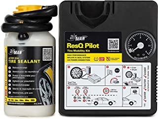AirMan ResQ Pilot Roadside Tyre Repair Kit for No Tools, Safe and Fast, Emergency Puncture fix with valve through tyre sealant and powerful air compressor for all cars and motorcycles