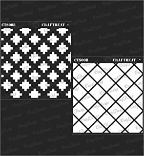 CrafTreat Background Stencil for Painting on Fabric - 2 Step Criss Cross Pattern Stencil - 6x6 Inches - Reusable DIY Stenc...