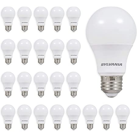 SYLVANIA LED A19 Light Bulb, 60W Equivalent, Efficient 9W, Not Dimmable, Daylight Color Temperature, 24 Pack - 7 Yr