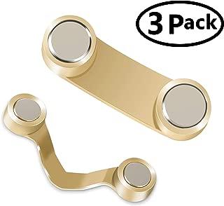 3 Pack Magnetic Eyeglass Holder,Stainless Steel Sunglasses Spectacles,Eyewear Holder for Men & Women (Gold)