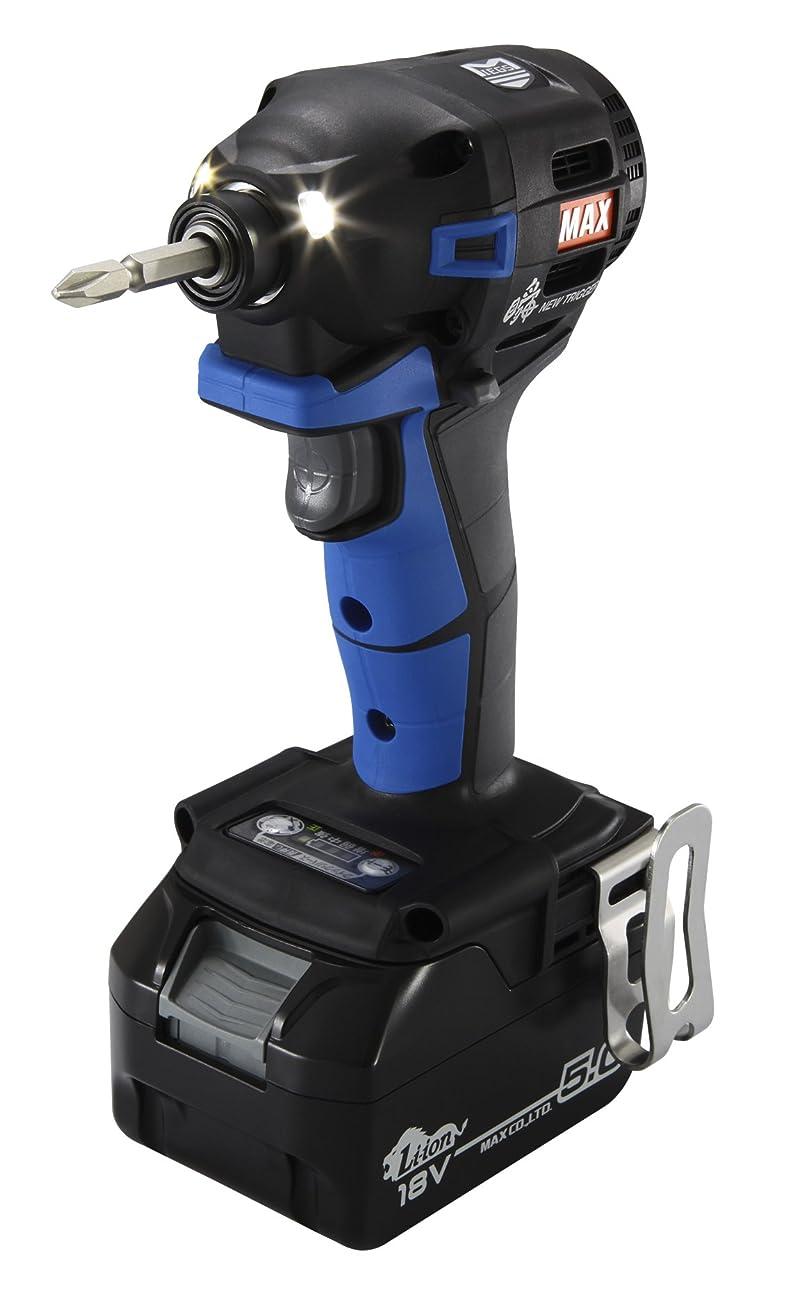 叱る影遺産MAX(マックス) 充電式ブラシレスインパクトドライバ PJ-ID152B-B2C/1850A(青) 18V(5.0Ah)フルセット品