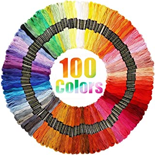 Rainbow Color Embroidery Floss Crafts Floss 100 Skeins Cross Stitch Threads Friendship Bracelets String Embroidery Cotton Thread with 6 Strands