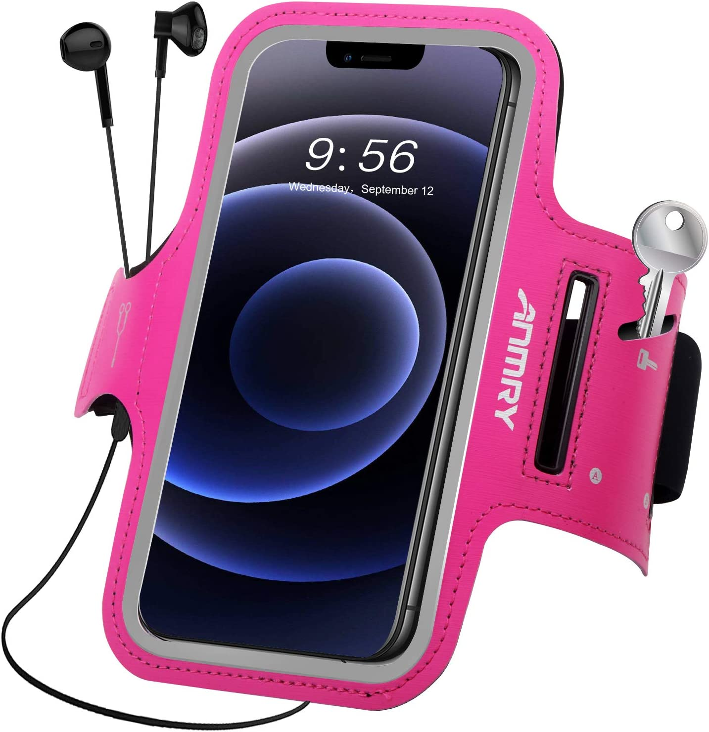 Cell Phone Armband,ANMRY Running Sports Arm Band Strap Holder Pouch Case for iPhone 11 Pro Max, Xs Max, Xr, 8 7 6 Plus, Galaxy S10 S9 S8 S7 S6 S5 Plus, W/Key Holder and Card Slot (Rose Pink)