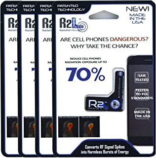 R2L Anti-Radiation Chip for Cell Phones - 4 Pack - EMF and EMR Protection - Reduces Radiation by 70%