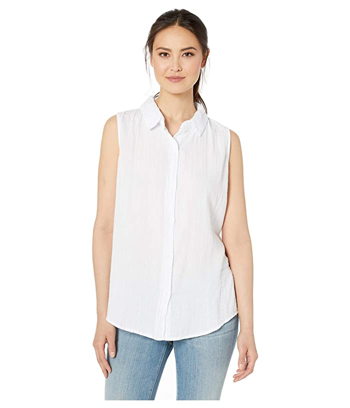 Dylan by True Grit Soft and Light Double Gauze Sleeveless Shirt with Button Back (White) Women