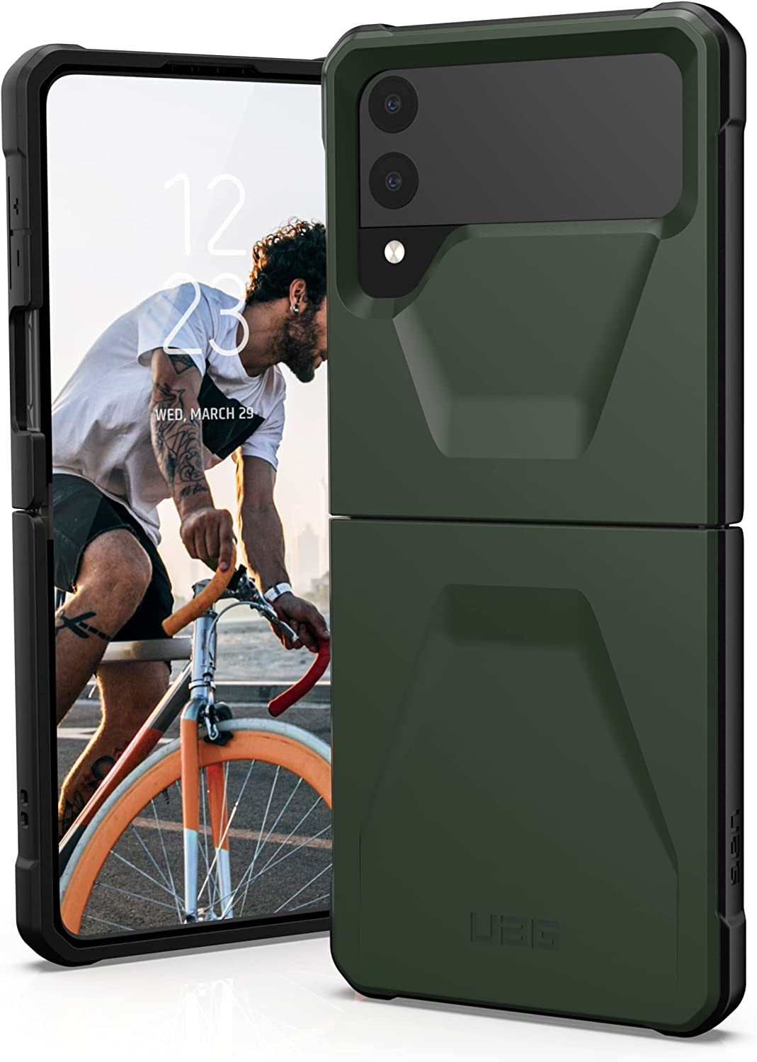 URBAN ARMOR GEAR UAG Designed for Samsung Galaxy Z Flip3 5G (2021) Case Civilian Sleek Ultra-Thin Shock-Absorbent Protective Cover, Olive