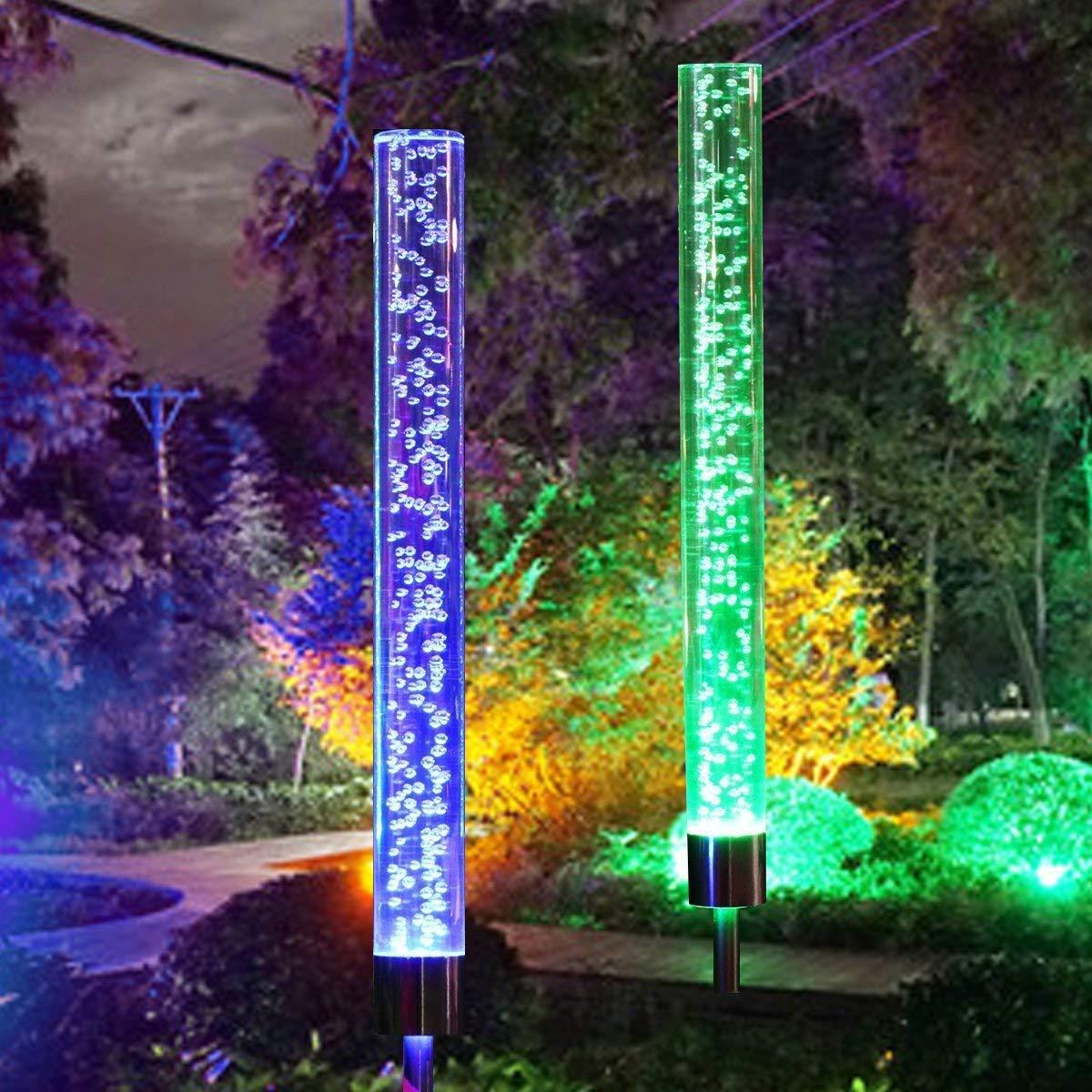 Lámparas solares para jardín, EEIEER 2 piezas Lámpara prueba de agua inalámbrico de acero inoxidable Stake Lights Bubble Lights Color RGB Paisaje al aire libre Decoración para patio, césped: Amazon.es: Iluminación