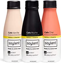 Cafe Variety Pack Soylent Meal Replacement Shake, Cafe Variety Pack, Complete Meal in a Bottle, 20g Plant Protein, 14 oz Bottles, 12 Pack