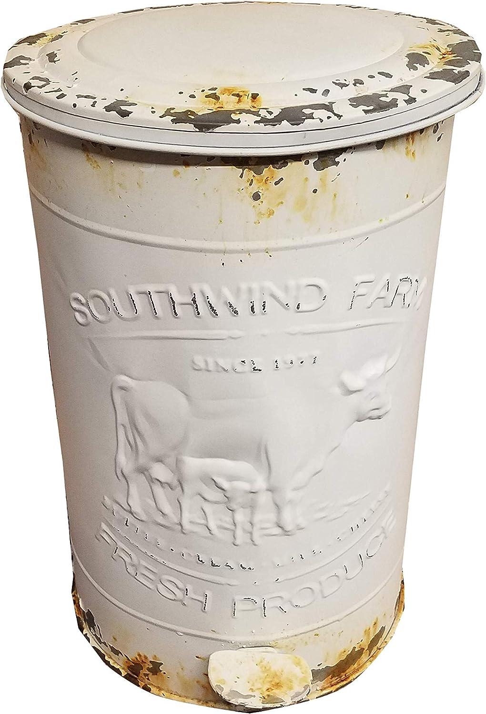 HS Vintage Metal Kitchen Step Garbage Waste Can Bin (Ivory Southwind Farm)