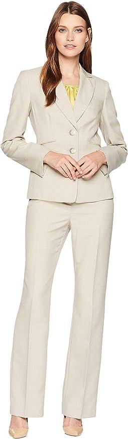 Glazed Melange Two-Button Notch Lapel Pants Suit w/ Cami