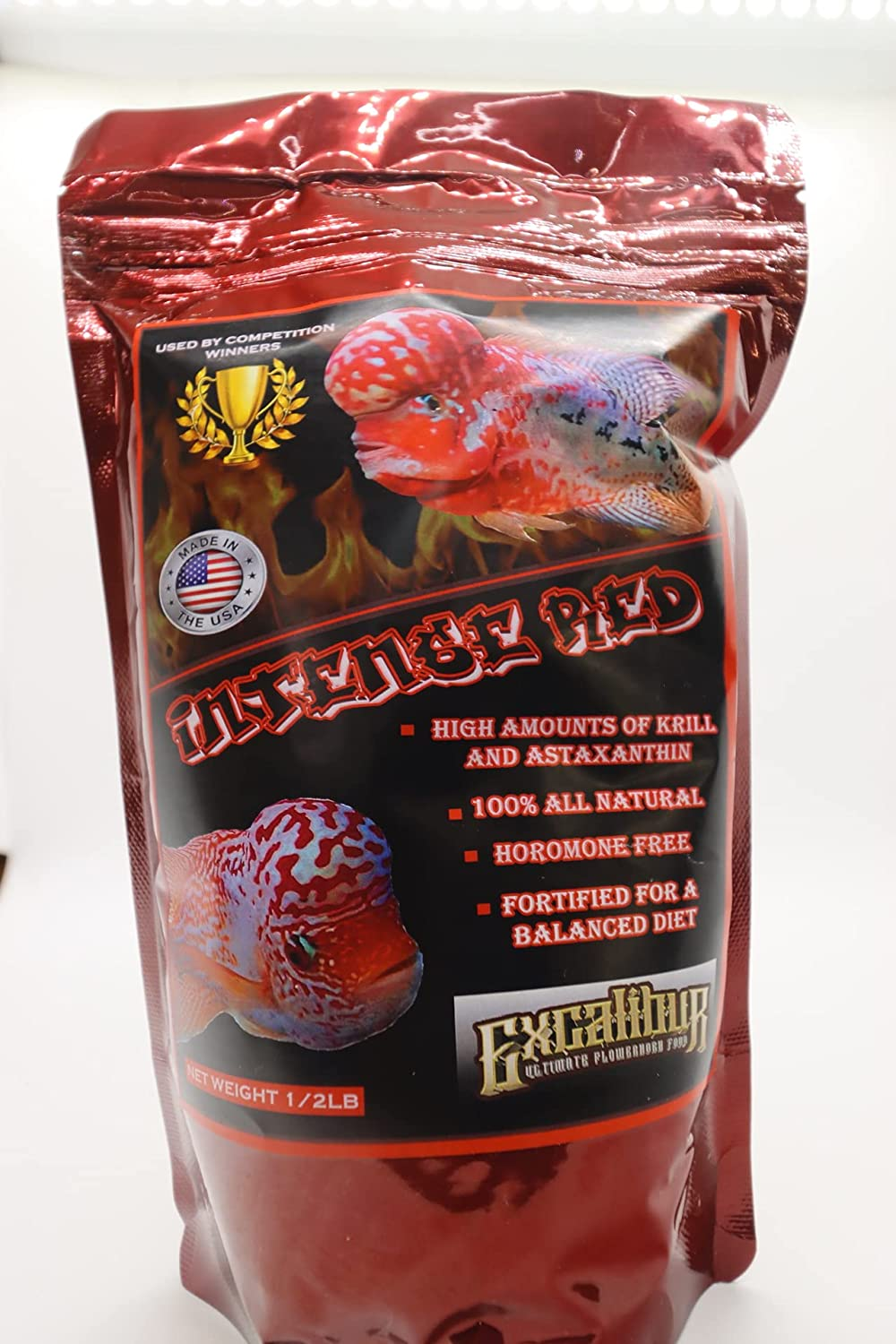 Excalibur Flowerhorn Food Intense Red 3mm Fish Food Cichlid Food 3MM PELLETS All Natural Made in The USA More Intense red Color Packed with Krill, Shrimp, and astaxanthin