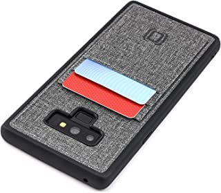 Dockem Luxe Wallet Case for Samsung Galaxy Note 9: Slim TPU with Canvas Synthetic Leather 2 Slot Card Case (Black and Grey)
