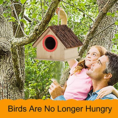 m·kvfa Large Bird House, Wood Wooden Hanging Standing Birdhouse Outdoor Garden Decor, Provides Bird Entertainment in Your Hom