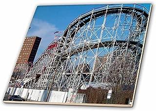 3dRose ct_1192_1 Coney Island Roller Coaster Ceramic Tile, 4-Inch