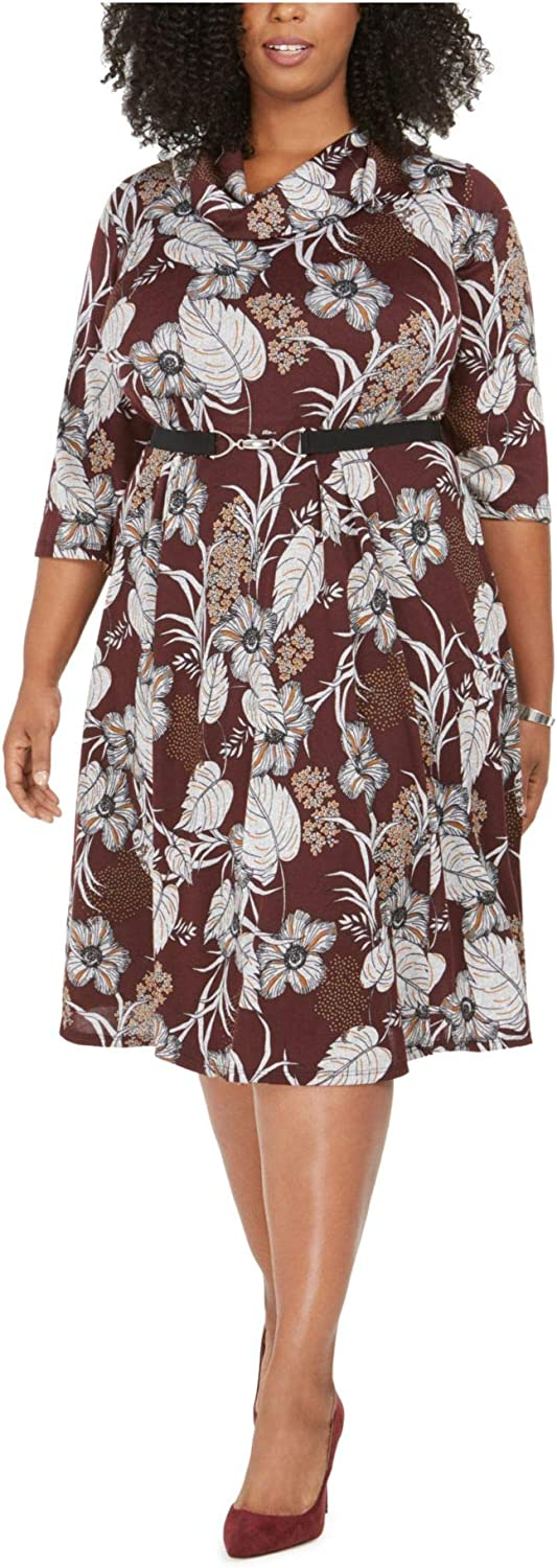 ROBBIE BEE Womens Maroon Belted Floral 3/4 Sleeve Jewel Neck Knee Length Baby Doll Wear to Work Dress Size 3X