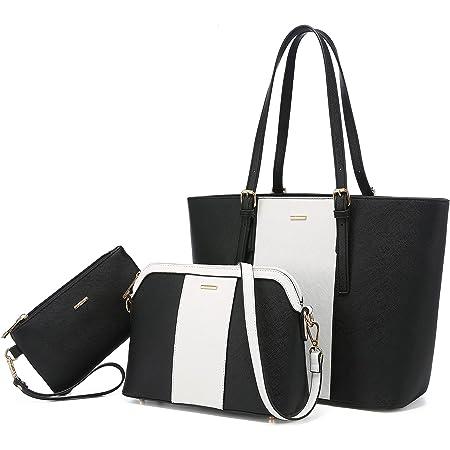 LOVEVOOK Handtasche Damen Schultertasche Handtaschen Tragetasche Damen Groß Designer Elegant Umhängetasche Henkeltasche Set 3-teiliges Set (blanc noir-verticale)