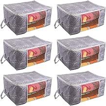 Prettykrafts Underbed Storage Bag, Storage Organizer, Blanket Cover with Side Handles (Set of 6 pcs) - Purple