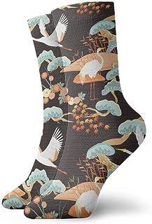 Calcetines de tobillo con grúa pintada de Ukiyo-e Casual Divertido para botas deportivas Senderismo Running Etc