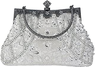Women's Vintage Style Beaded And Sequined Evening Bag Wedding Party Handbag Clutch Purse
