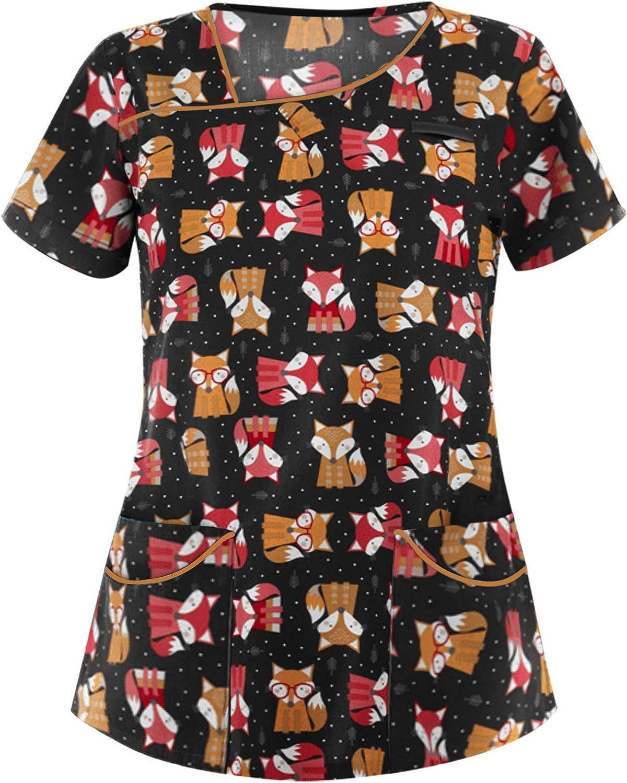Women's V-Neck Scrub_Tops Cartoon Print Short Sleeve T Shirt Working Uniform Blouse Workwear Tops