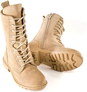 832 Desert Combat Boot (Side Zipper) | Unisex High Lace Up Military Jungle Style | Mid-Calf Suede Full Leather for Men and Woman | Water Resistant Tactical Commando SWAT Training Shoes