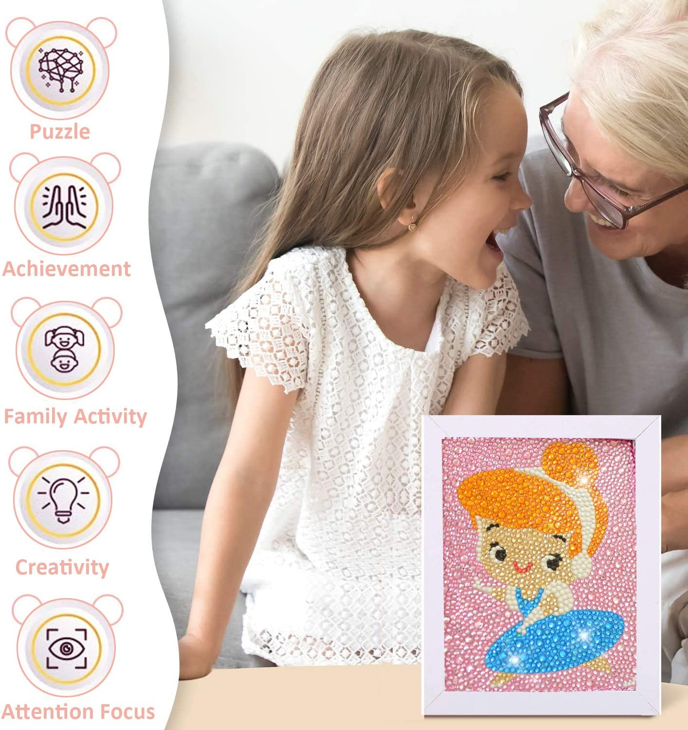 Full Drill Painting by Number Kits DIY Mosaic Making Arts Crafts Supplies for Childrens Gifts 5D Diamond Painting Kits MAXIUSS Funny DIY Mosaic Craft Kits for Kids with Wooden Frame Snow White