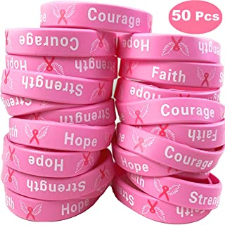 Uddiee 50 Pack Breast Cancer Awareness Pink Ribbon Bracelets Hope Faith Strength Courage Inspiring Wristbands