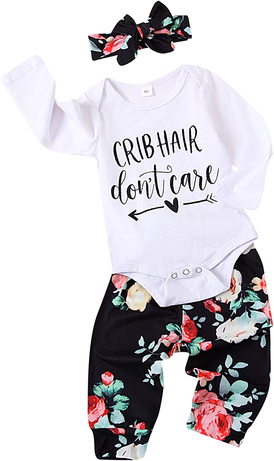 Newborn Baby Girl Clothes Cute Infant Romper Funny Letter Printing Floral Pants Baby Girl Outfits Set