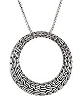 John Hardy - Classic Chain Large Round Pendant On 1.6 mm. Box Chain Necklace