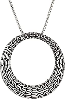 Classic Chain Large Round Pendant On 1.6 mm. Box Chain Necklace