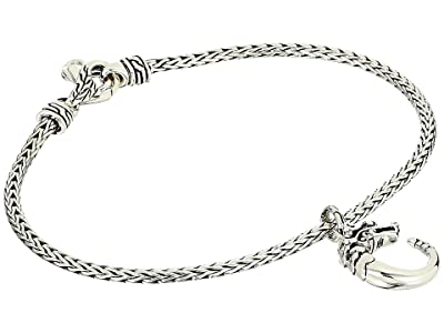 John Hardy Legends Naga Charm on 2.5 mm Mini Chain Bracelet with Lobster Clasp (Silver) Bracelet