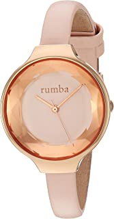 RumbaTime Women's 'Orchard Gem Leather' Quartz Stainless Steel Casual Watch, Color:Pink (Model: 27549)