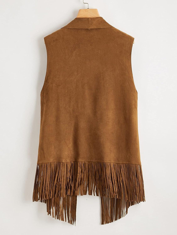 Verdusa Women's Plus Faux Suede Tassel Vest 70s Hippie Cardigan Cowgirl Fringe Jacket