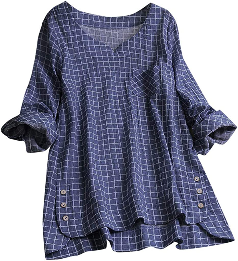 NREALY Blusa Womens Casual Plus Size Cotton Tops Tee T Shirt Vintage Plaid Button Loose Blouse