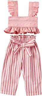 Conjunto de Trajes de Moda de Dos Piezas para Niñas de 1 a 6 Años Camiseta sin Mangas con Volantes Y Pantalones de Rayas V...