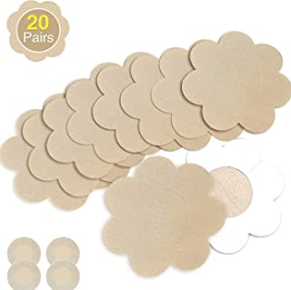 Nipple Breast Covers, Sexy Breast Pasties Adhesive Bra Disposable (20 Flower/2 Round Cream)