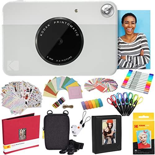lowest KODAK Printomatic Instant Camera (Grey) All-in-Bundle + Zink Paper online (20 Sheets) + high quality Deluxe Case + Photo Album + 7 Sticker Sets + Markers + Scissors and More sale