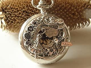 Joyplancraft Antique Alice's Adventures in Wonderland Pocket Watch Necklace Flower Necklace
