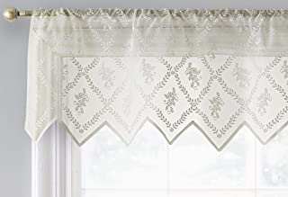 HLC.ME Isabella Floral Rod Pocket Lace Semi Sheer Voile Short Valance for Small Windows, Kitchen & Bathroom - 54 x 18 Inch Long (Ivory Valance)