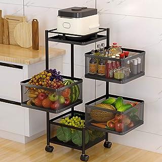 XHHXPY 4 Niveaux Chariot de Cuisine à roulettes en Filet Chariot de Rangement, Panier de Rangement Rotatif pour Fruits et ...