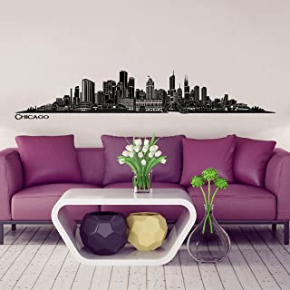 Wandkings Skyline wall sticker wall decal - 48.8 x 8.7 inch in black - Your city selectable - CHICAGO