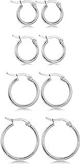 Stainless Steel Rounded Small Hoop Earrings Set for Women Nickel Free