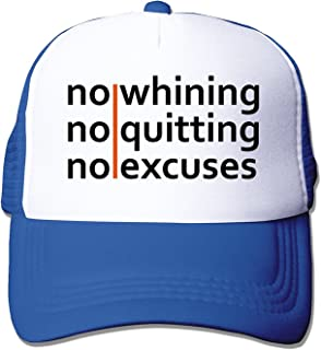 No Whining | No Quitting | No Excuses Mesh Fitted Trucker Baseball Hats Black